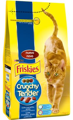 Friskies Gato Crunchy & Tender Salmão, Atum e Vegetais 1.5 kg