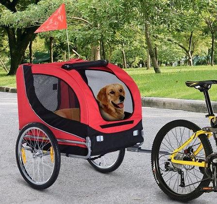 Atrelado para bicicleta - Vermelho e preto - 130 x 90 x 110 cm