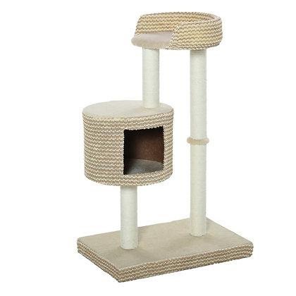 Arranhador para gatos com toca 61x41x96 cm- Bege e Coffe