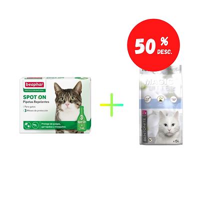 Beaphar pipetas replentes - gatos - 3 x 1 ml + Cominter Magic Litter Ultra White