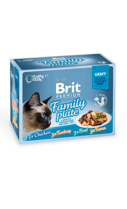 Brit Blue Cat Delicate Fillets in Gravy Family Plate Multipack - 12 x 85 g