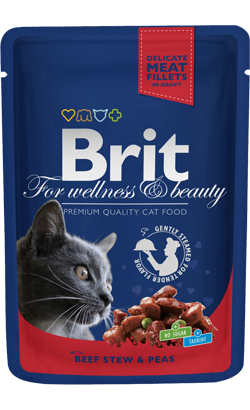 Brit Blue Cat Wet - Beef Stew & Peas - 6 x 100 g