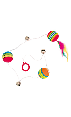 Trixie Rainbow Balls on an Elastic Band - 3 Unidades