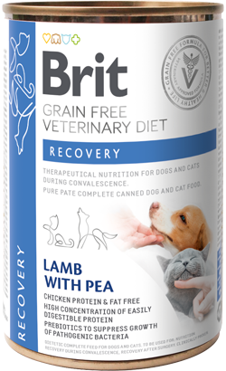 Brit Vet Diet Dog & Cat Recovery Grain-Free Lamb with Pea - Lata - 6 x 400 g