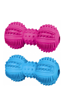 Trixie Brinquedo Denta Fun Dumbbell Natural Rubber - 1 unidade - 9 cm