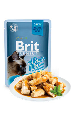 Brit Blue Cat Delicate Fillets in Gravy with Chicken - 6 x 85 g