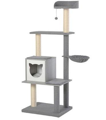 Arranhador para gatos moderno 61x49x160.5 cm - Grey