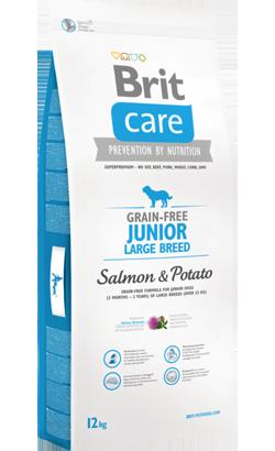 Brit Care Grain-free Dog júnior Large Breed Salmon & Potato 12kg