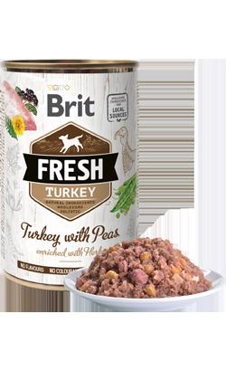 Brit Fresh Dog Turkey with Peas - Wet (Lata) 6 x 400 g