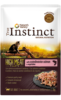 True Instinct Cat Adult High Meat Fillets with Salmon & Vegetables  8 x 70 g