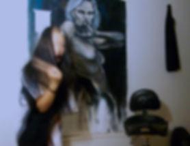 monica hee eun artwork, dark art, danish female artist, acrylic fine art paintings, artist studio photo, contemporary fine art,