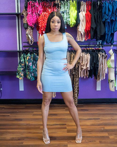 2 pc Light Jean Skirt Set