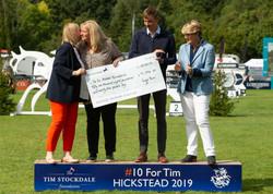 Tim Stockdale Foundation Cheque Presentation.
