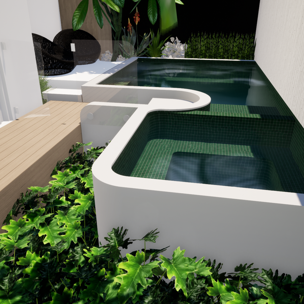 Above Ground Pool and Spa by tristanpeirce Landscape Architecture Pool and Garden designer planting layout by tristanpeirce Landscape Architecture Pool and Garden Design