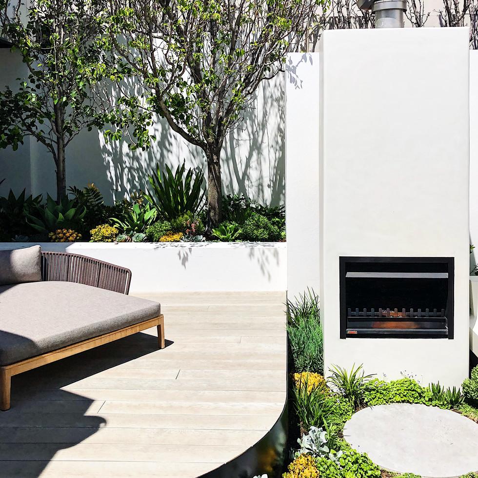 Outdoor fireplace courtyard