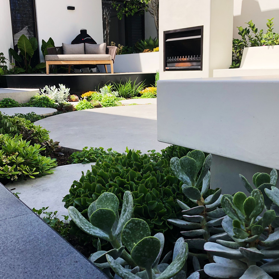 Outdoor fireplace courtyard seating