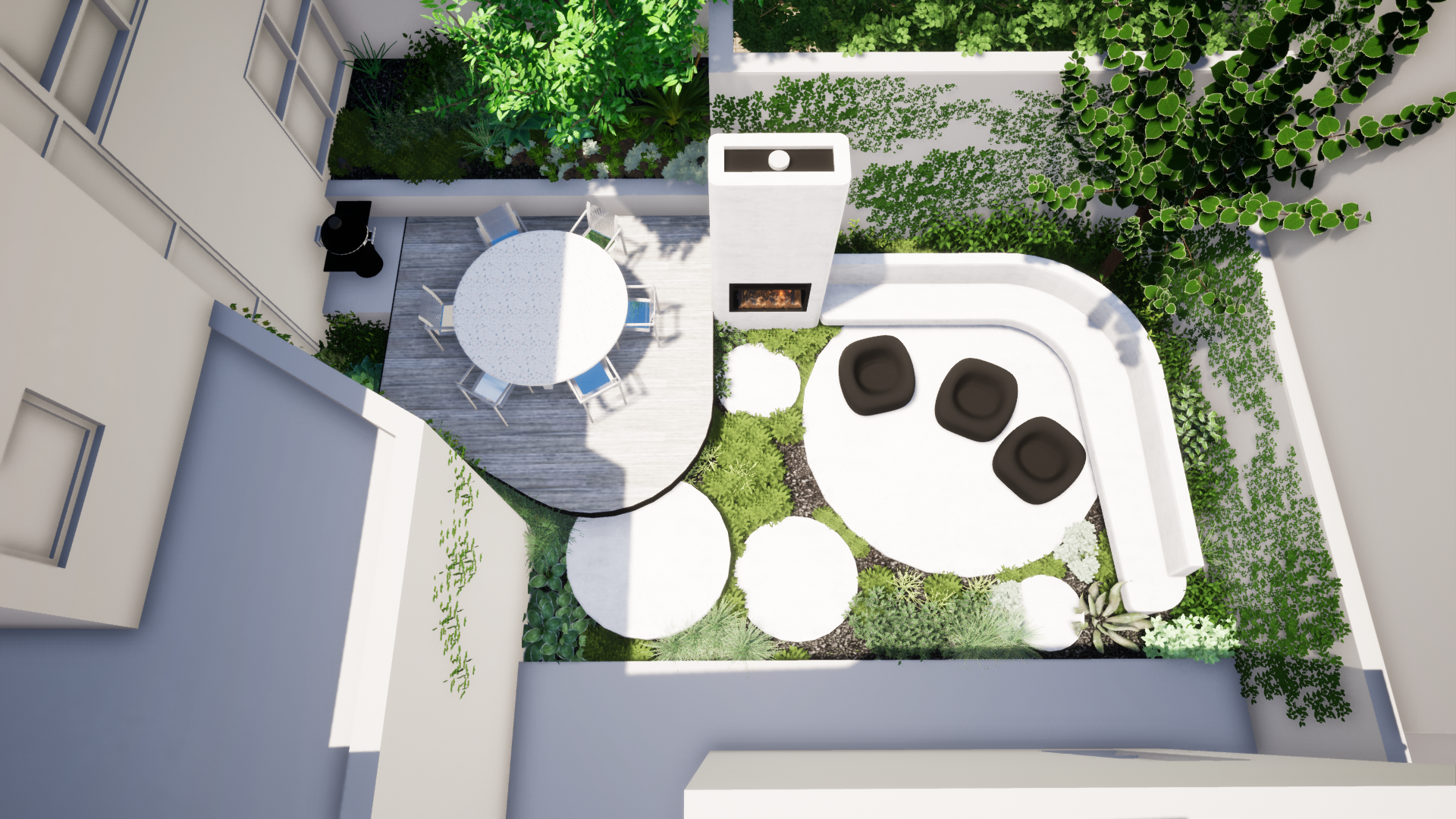 Designer Courtyard With Fireplace and Se