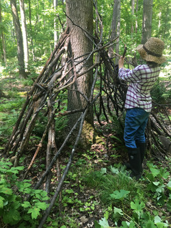 building a fort in the woods
