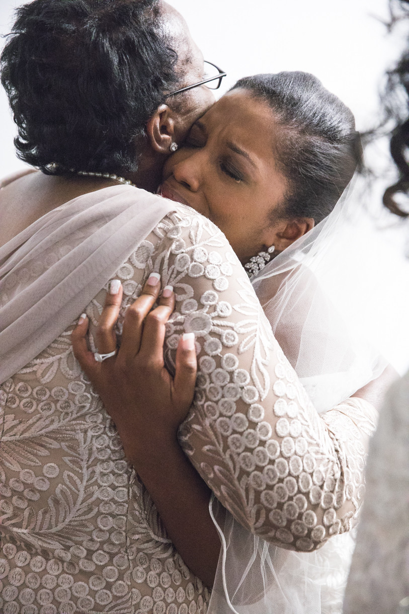 Intimate moment between the bride and her mother