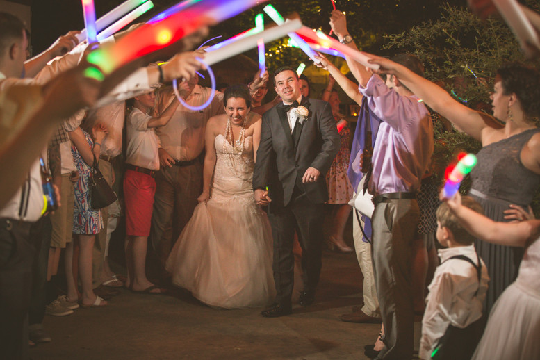 Bride and groom exit from reception in Columbia, SC wedding at Riverbanks Zoo