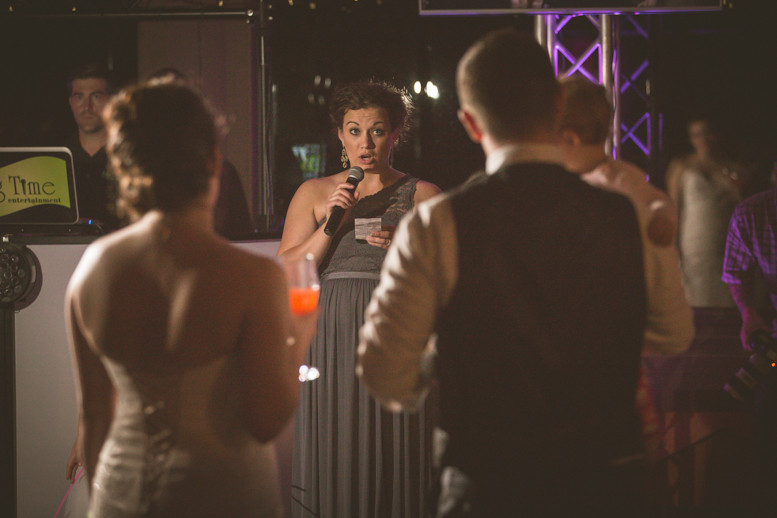 Toasts performed by bridesmaid at Columbia, SC wedding venue