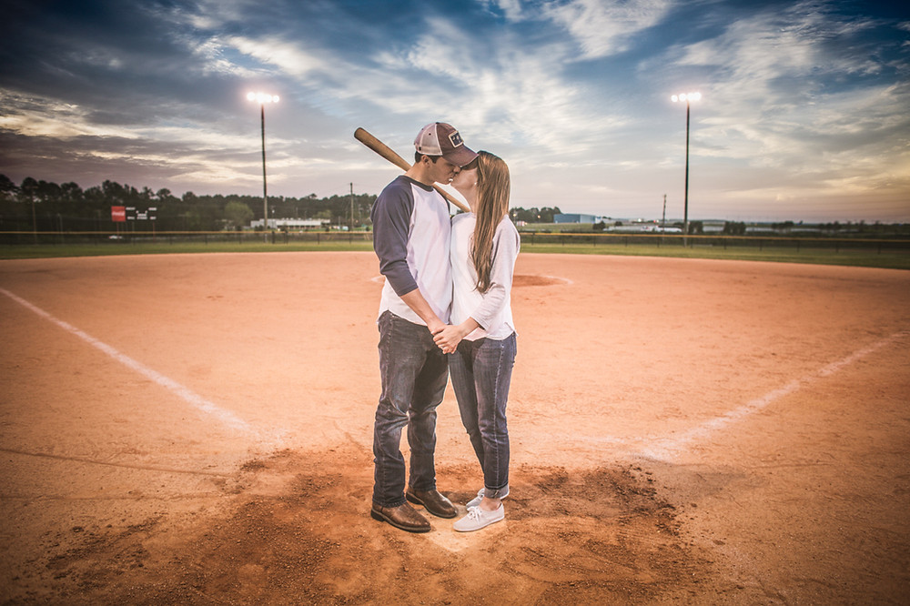Baseball Themed Engagement Portraiats in Coumbia SC