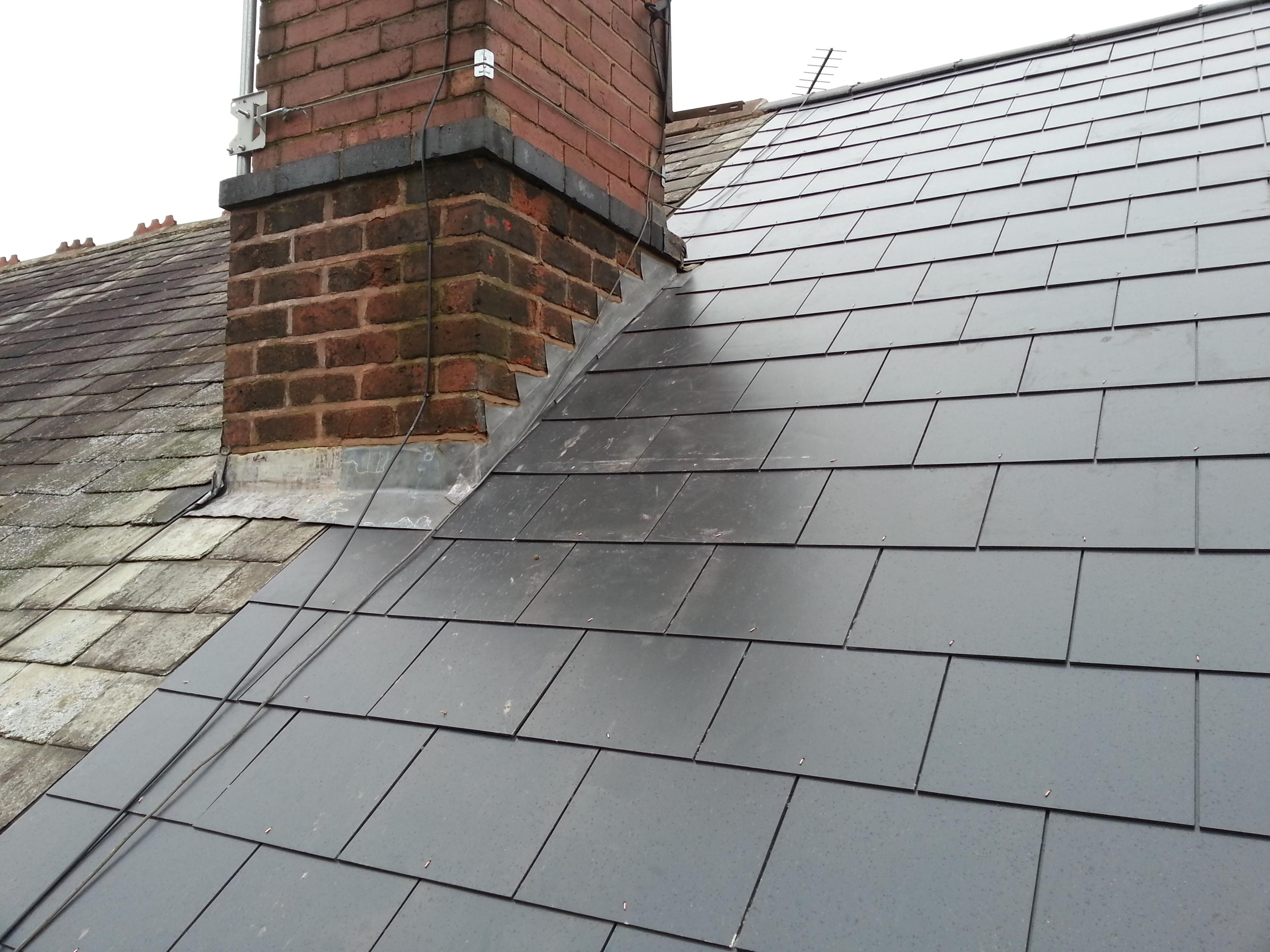 Slate tiled roof.