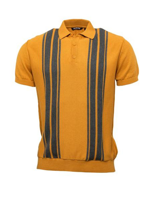 Relco Knitted Polo - Mustard / Grey