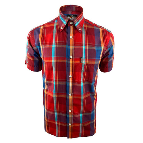 Trojan Windowpane Check S/S B/D Shirt - 8605 Blood