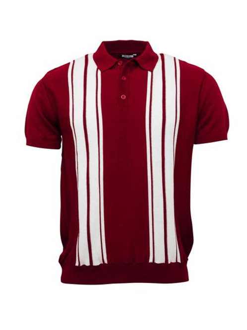 Relco Knitted Polo - Burgundy / White