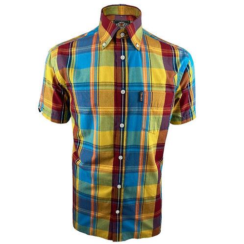 Trojan Windowpane Check S/S B/D Shirt - 8605 Mustard