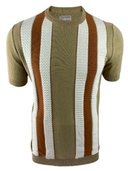 Ska & Soul Stripe Fine Gauge Tee – 2404 Sand