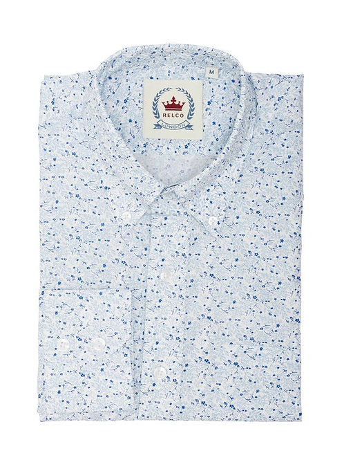 Relco Floral Long Sleeved Shirt - White/Sky/Blue
