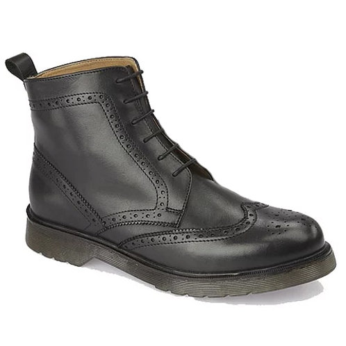 Grafters Brogue Boots - Black