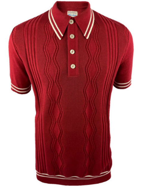Ska & Soul Stripe Fine Gauge Pointelle Polo – 2400 Blood