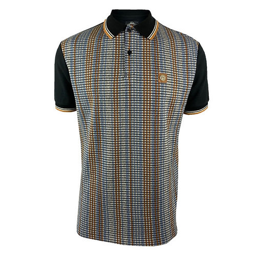 Trojan Stripe Front Panel Polo 8567 Black