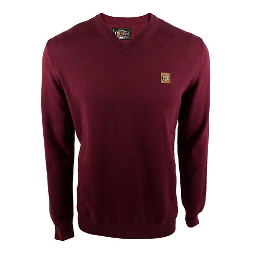 Trojan Plain Fine Gauge V-Neck - 1018 Port