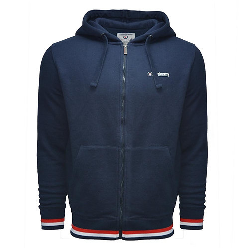 Lambretta Tipped Full Zip Hooded Sweat - Navy