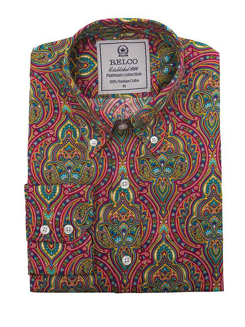 Relco Mens Luxury Psychedelic Print shirt - RSW 614 PLT