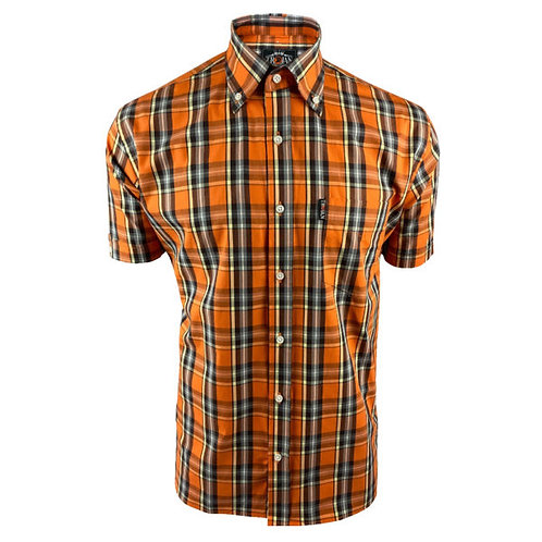 Trojan Classic Check S/S B/D Shirt 8559 Orange