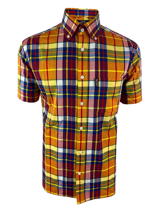 Trojan Madras Check S/S B/D Shirt - 8518 Gold (with Pocket Square)