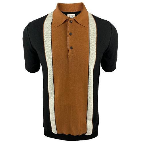 Ska & Soul Stripe Fine Gauge Stripe Front Polo – 2403 Black