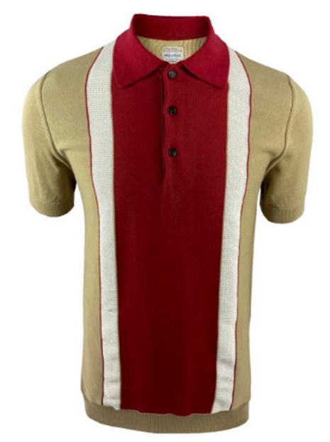 Ska & Soul Stripe Fine Gauge Stripe Front Polo – 2403 Sand