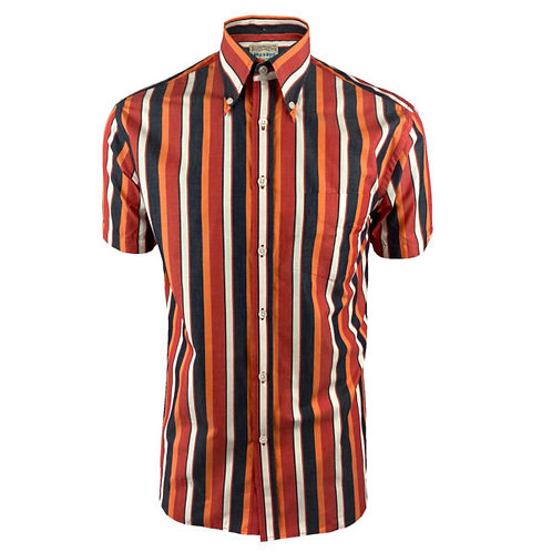 Ska & Soul Spear-point Stripe Button-Down S/S – 2406 Blood