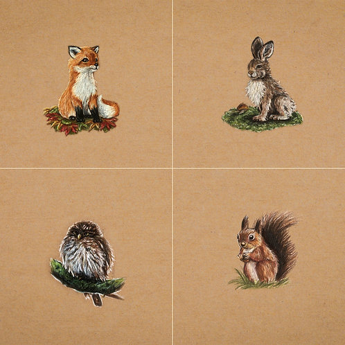 """""""Forest Animal"""" Set of 4"""