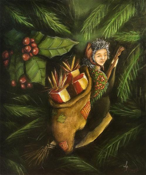 Sorcière peinture tableau witch painting art illustration halloween christmas