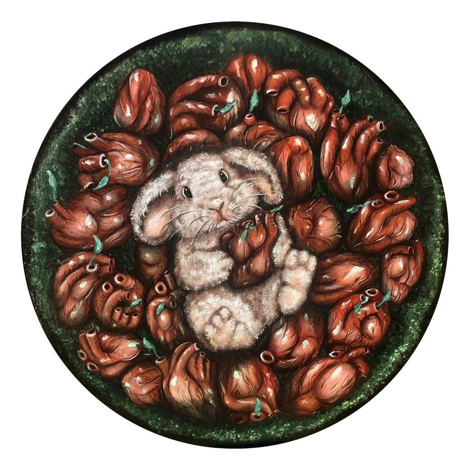 Bunny heart creepy art cute Lucie Schrimpf