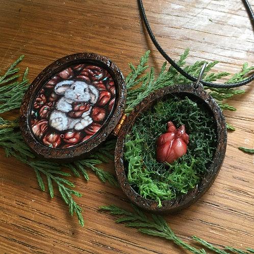 """Locket Terrarium miniature """"Sweetart"""" en bois"""
