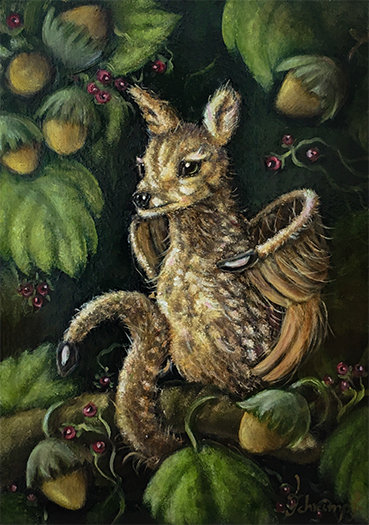 Fantasy art fantastic beast fantasy creature magic cute animal fawn bambi