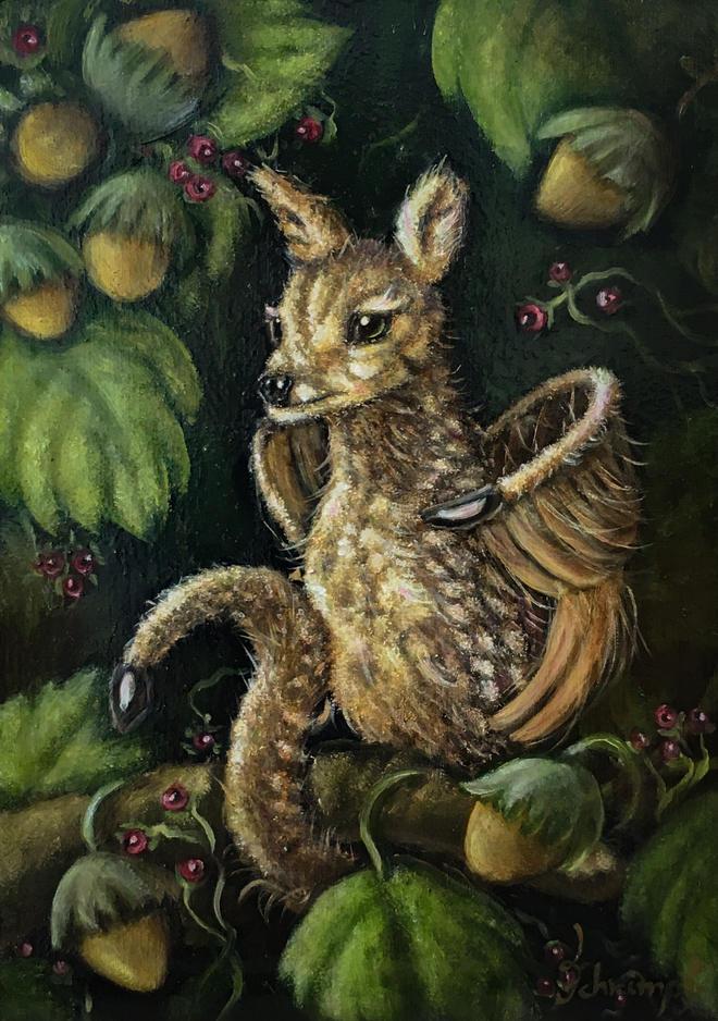 Fantasy animal bambi cute painting fantastic beast fawn